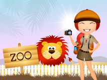 Girl in the zoo Stock Images