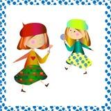 Girla deux avec des sucreries illustration libre de droits