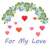 Girland av blåa rosor och färgrika hjärtor för min förälskelse vektor illustrationer