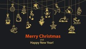 Girland för hängande rep för vinter för glad jul och för lyckligt nytt år säsongsbetonad med garneringobjekt royaltyfri illustrationer