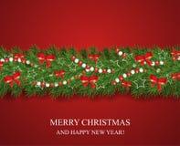 Girland för jul och för lyckligt nytt år och gräns av realistiska seende julgranfilialer som dekoreras med röda pilbågar, vita st stock illustrationer