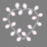 Girland i form av hjärta med glödande rosa ljus som isoleras på genomskinlig bakgrund Vektordesignbeståndsdel för feriekort Arkivfoton