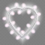 Girland i form av hjärta med glödande rosa ljus som isoleras på genomskinlig bakgrund Vektordesignbeståndsdel för feriekort Royaltyfri Bild