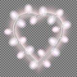 Girland i form av hjärta med glödande rosa ljus som isoleras på genomskinlig bakgrund Vektordesignbeståndsdel för feriekort Arkivfoto
