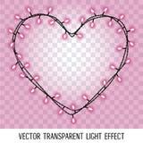Girland i formformen av hjärta med glödande rosa purpurfärgade ljus som isoleras på genomskinlig bakgrund Royaltyfri Bild