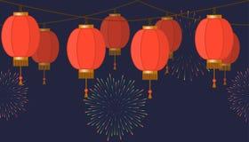 Girland med den kinesiska lyktakedjan, röda asiatiska traditionella pappers- lampor på mörk bakgrund, felika ljus med fyrverkerie vektor illustrationer