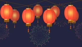 Girland med den kinesiska lyktakedjan, röda asiatiska traditionella pappers- lampor på mörk bakgrund, felika ljus med fyrverkerie royaltyfri illustrationer