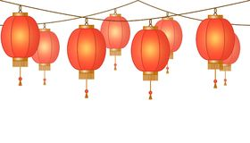 Girland med den kinesiska lyktakedjan, röda asiatiska traditionella pappers- lampor utan bakgrund, felika ljus, footeren och banr stock illustrationer