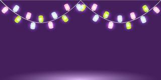 Girland med färgrika glödande ljus eller lampor Isolerad vektordesignbeståndsdel för feriekort stock illustrationer