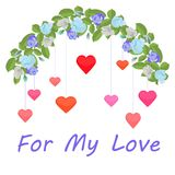 Girlanda błękitne róże i kolorowi serca dla mój miłości ilustracja wektor