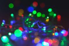 Girlanda z kolorowymi światłami w górę fotografia royalty free