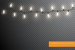 Girlande, festliche Dekorationen Glühende Weihnachtslichter lokalisiert auf transparentem Hintergrund stock abbildung