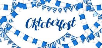 Girlande mit Flaggen Oktoberfest Bierfestival Fahne oder Plakat für Fest lizenzfreie abbildung