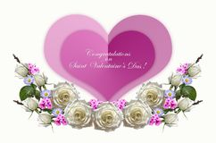 Girlande von Rosen mit den Knospen und den Flammenblumen mit zwei rosa Herzen auf weißem Hintergrund Lizenzfreie Stockbilder