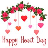 Girlande von roten Rosen mit bunten Herzen vektor abbildung