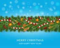 Girlanden för jul och för det lyckliga nya året och gränsen av realistiska seende julgranfilialer dekorerade med bär, stjärnor oc vektor illustrationer