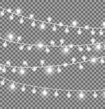 Girlanden mit runden Birnen auf dunklem Hintergrund vektor abbildung