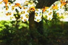 Girlander av solrosor avbildar till en mapp på en bakgrund av green Royaltyfri Fotografi