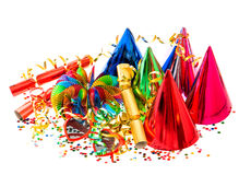 Girlander, banderoll, partihattar och konfettiar festlig garnering Royaltyfri Fotografi