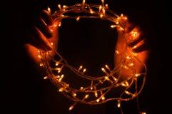 Girlander julpyntljuseffekter Arkivbild