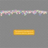 Girlandy, Bożenarodzeniowi dekoracj świateł skutki elementy projektu izolacji Jarzyć się światła dla Xmas kartka z pozdrowieniami royalty ilustracja