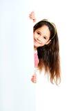 Girle beside a white blank stock photos