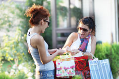 Girlfriend. Two girlfriends enjoyed a successful shopping Stock Images