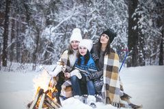 Girlfriend beautiful young women dressed warmly in winter Park royalty free stock photo
