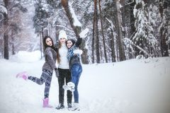 Girlfriend beautiful young women dressed warmly in winter Park stock images