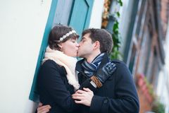 Girlfriend and boyfriend kissing each other Royalty Free Stock Images