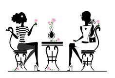 Girlfriend in cafe. Girlfriends sitting in a cafe royalty free illustration