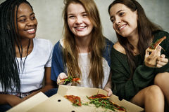 Girlfriend Friendship Togetherness Eating Pizza Youth Culture Co Royalty Free Stock Photos