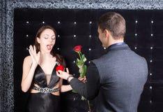 Girlfriend Received Presents from her Boyfriend Stock Photos