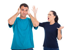 Girlfriend shouting boyfriend Stock Images