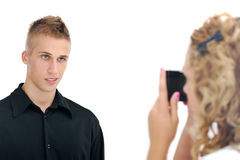 Girlfriend taking picture Royalty Free Stock Photography