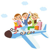 Girlfriend who travels on an airplane Royalty Free Stock Images