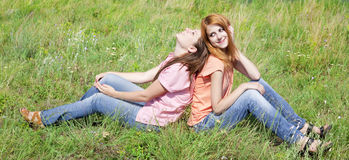 Girlfriends At Countryside. Royalty Free Stock Photography