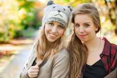 Girlfriends in the autumn Stock Images