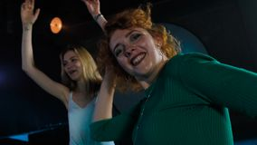 Girl friends at bachelorette party funny dancing and sing. Slow motion. Girlfriends at bachelorette party funny dancing and sing. Slow motion stock video