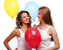 Girlfriends and balloons Royalty Free Stock Images