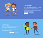 Girlfriends and Best Friends Collection of Banners Stock Images