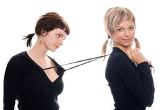 Girlfriends blond and brunette Royalty Free Stock Photography