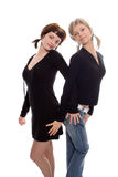 Girlfriends blond and brunette Royalty Free Stock Images