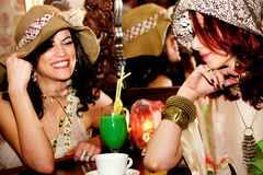 Girlfriends in cafe Stock Photo