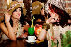 Girlfriends in cafe Stock Photos