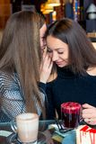 Girlfriends in a cafe gossip. And drink coffee stock images