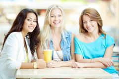 Girlfriends in cafe Stock Photography