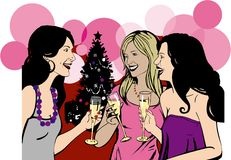 Girlfriends celebrate Christmas party Stock Photos