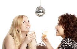 Girlfriends with champagne Stock Photo