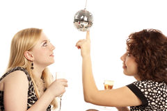 Girlfriends with champagne Stock Image